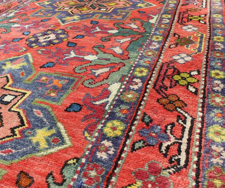 Colorful Rug Designs: Colorful Caucasian Vintage Karabagh Rug With Floral And