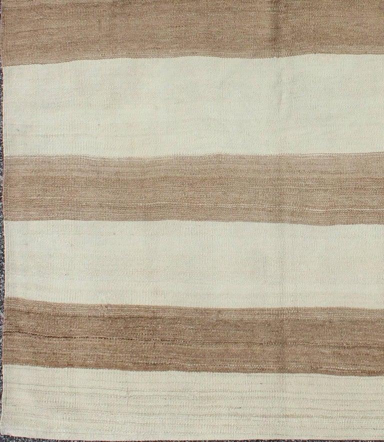 Kilim Rug Cream: Vintage Turkish Kilim Rug In Cream With Horizontal Taupe