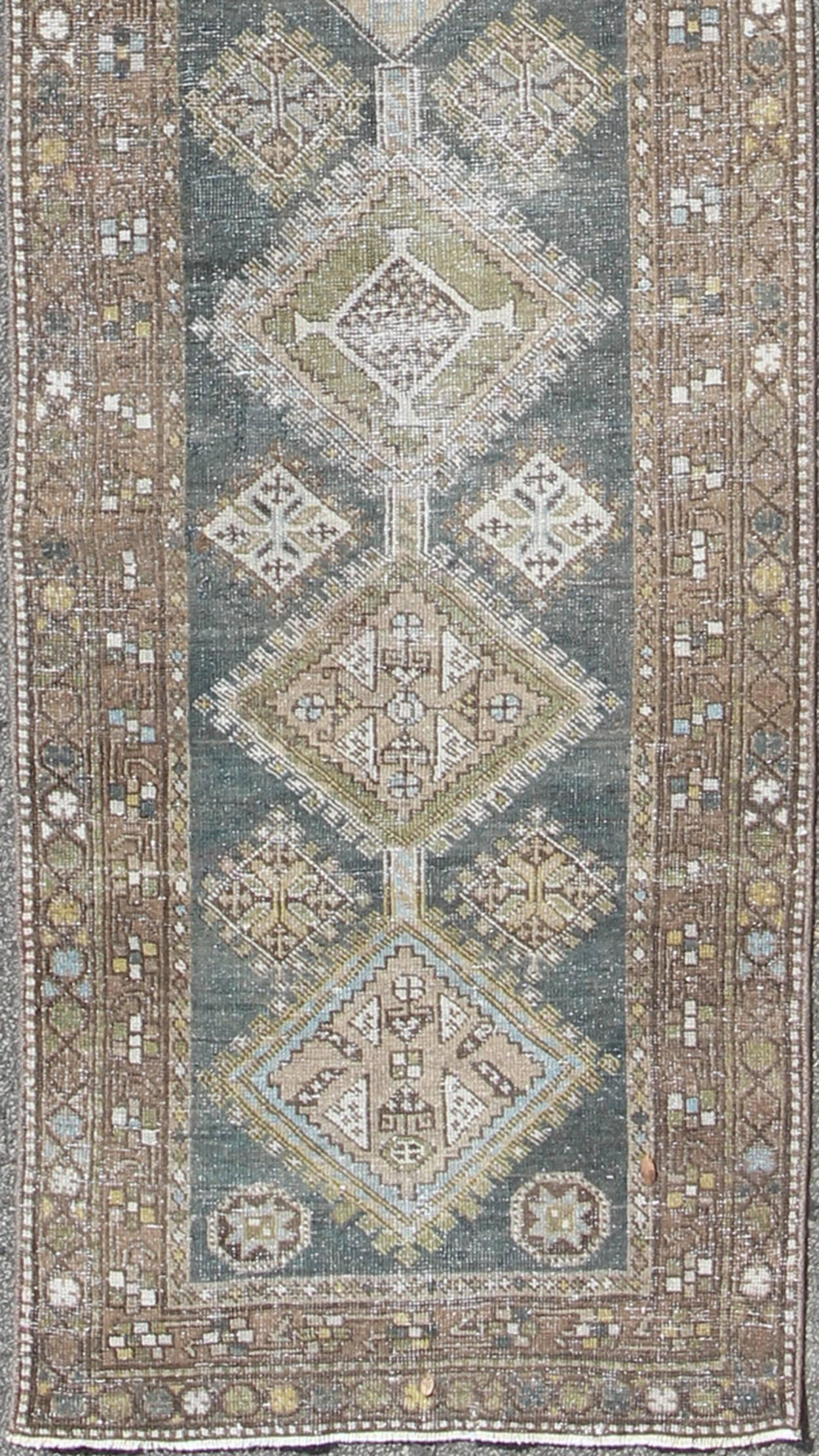 Heriz Antique Persian Rug With Geometric Medallions In Steal Blue, Brown