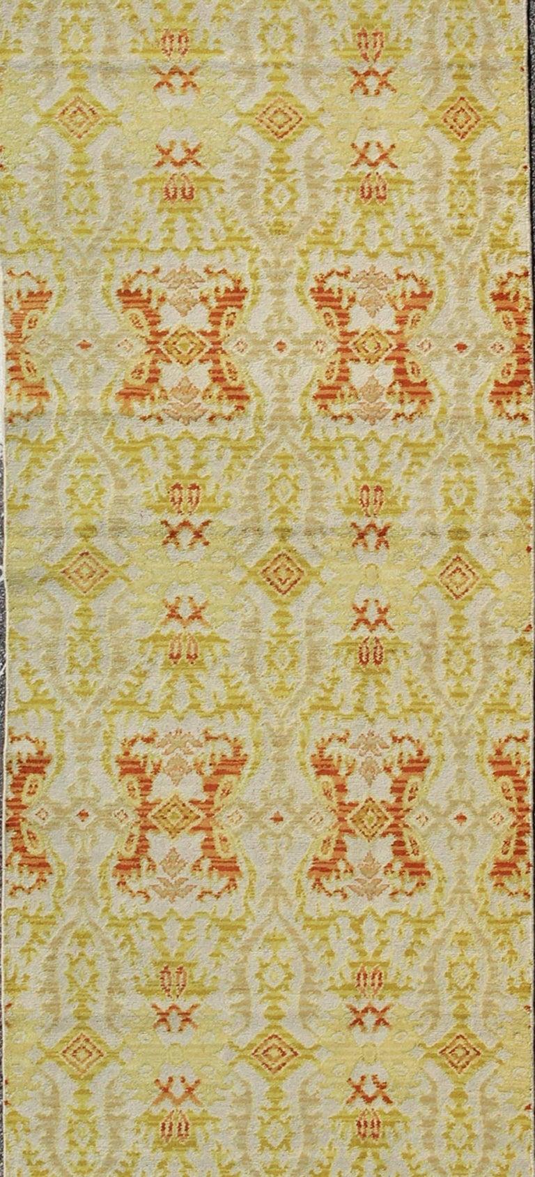 Spanish Colonial Green, Yellow, Orange Antique Spanish Runner Fragment For Sale