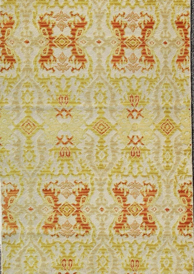 Hand-Knotted Green, Yellow, Orange Antique Spanish Runner Fragment For Sale