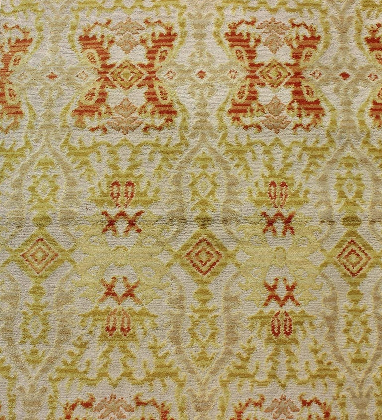 Early 20th Century Green, Yellow, Orange Antique Spanish Runner Fragment For Sale