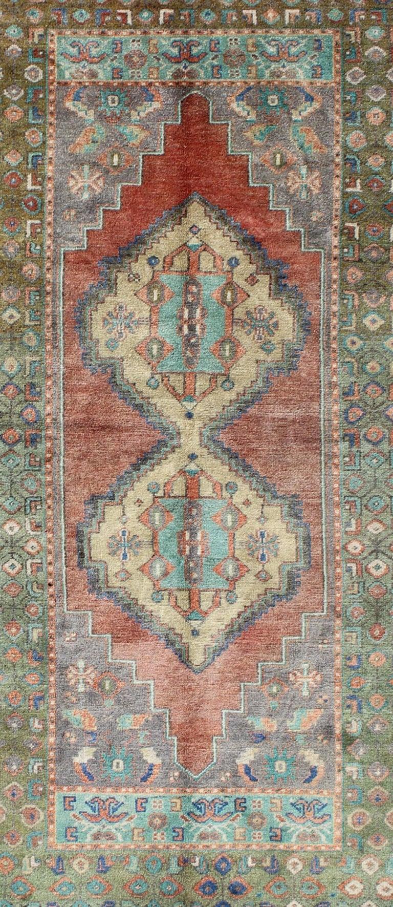 Hand-Knotted Green and Orange Turkish Oushak Rug Vintage Dual Diamond Medallions For Sale