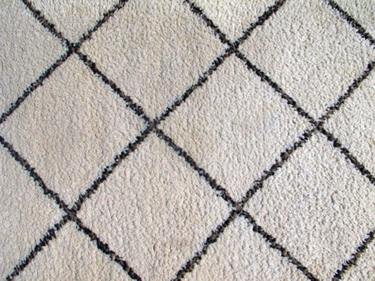 Tribal Vintage Moroccan Rug with Ivory and Brown Diamond Shapes 2