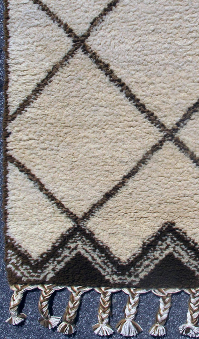 Tribal Vintage Moroccan Rug with Ivory and Brown Diamond Shapes 3