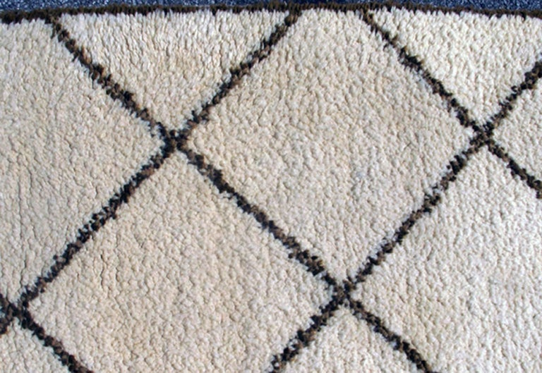 Tribal Vintage Moroccan Rug with Ivory and Brown Diamond Shapes 4