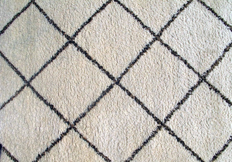 Tribal Vintage Moroccan Rug with Ivory and Brown Diamond Shapes 5