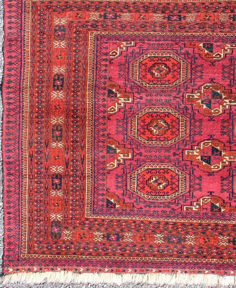 Antique Turkoman Tekke Rug With Repeating Medallion Design