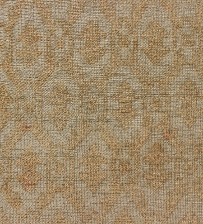 Wool Muted Midcentury Turkish Oushak Runner with Latticework Design in Cream For Sale