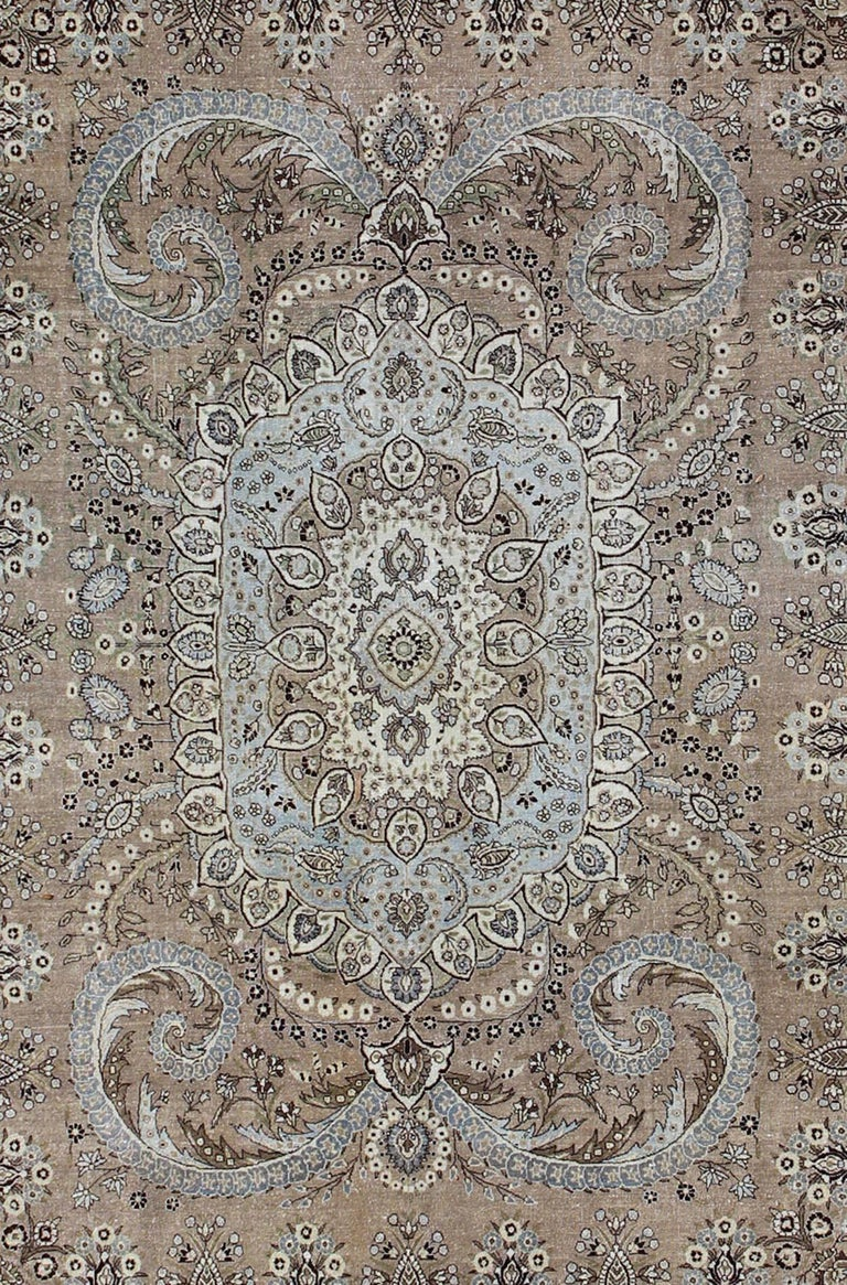 Tribal Vintage Persian Bakhtiari Rug With Stretched Medallion In Taupe Gray And Brown For