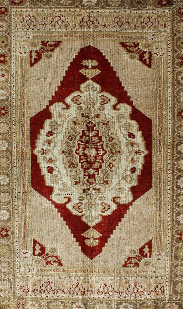 Hand-Knotted Opulent Layered Medallion Vintage Turkish Oushak Rug in Burgundy, Nude & Gray For Sale