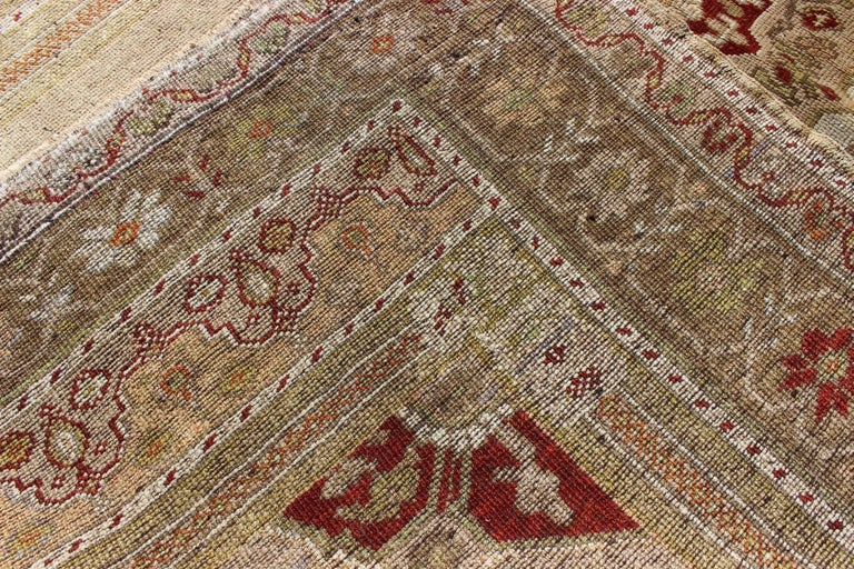 Wool Opulent Layered Medallion Vintage Turkish Oushak Rug in Burgundy, Nude & Gray For Sale
