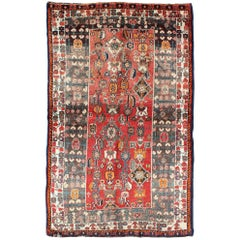 Red Background Shiraz Persian Rug with Sub-Geometric Motifs Throughout