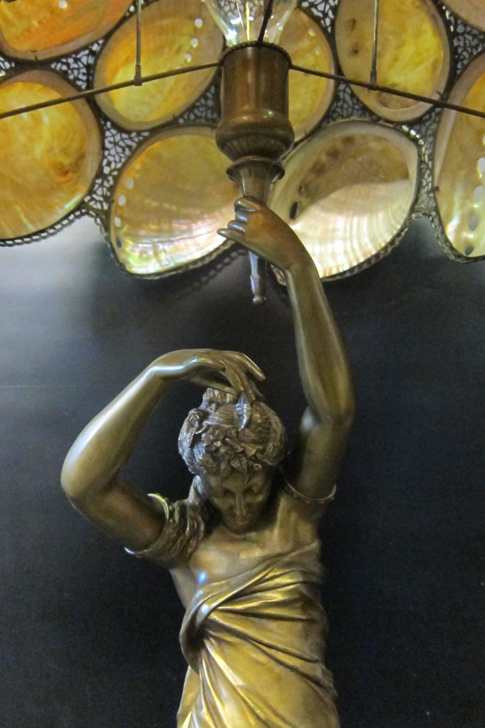 Vintage Art Nouveau Table Lamp With Mother Of Pearl Shades