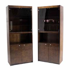 Pair of Burl Walnut Wall Unit Pieces w/ Interior Lights