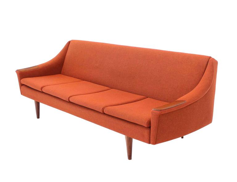 Very nice Danish modern wool upholstery sofa bed with wool upholstery and self unwrapping and winding blanket.