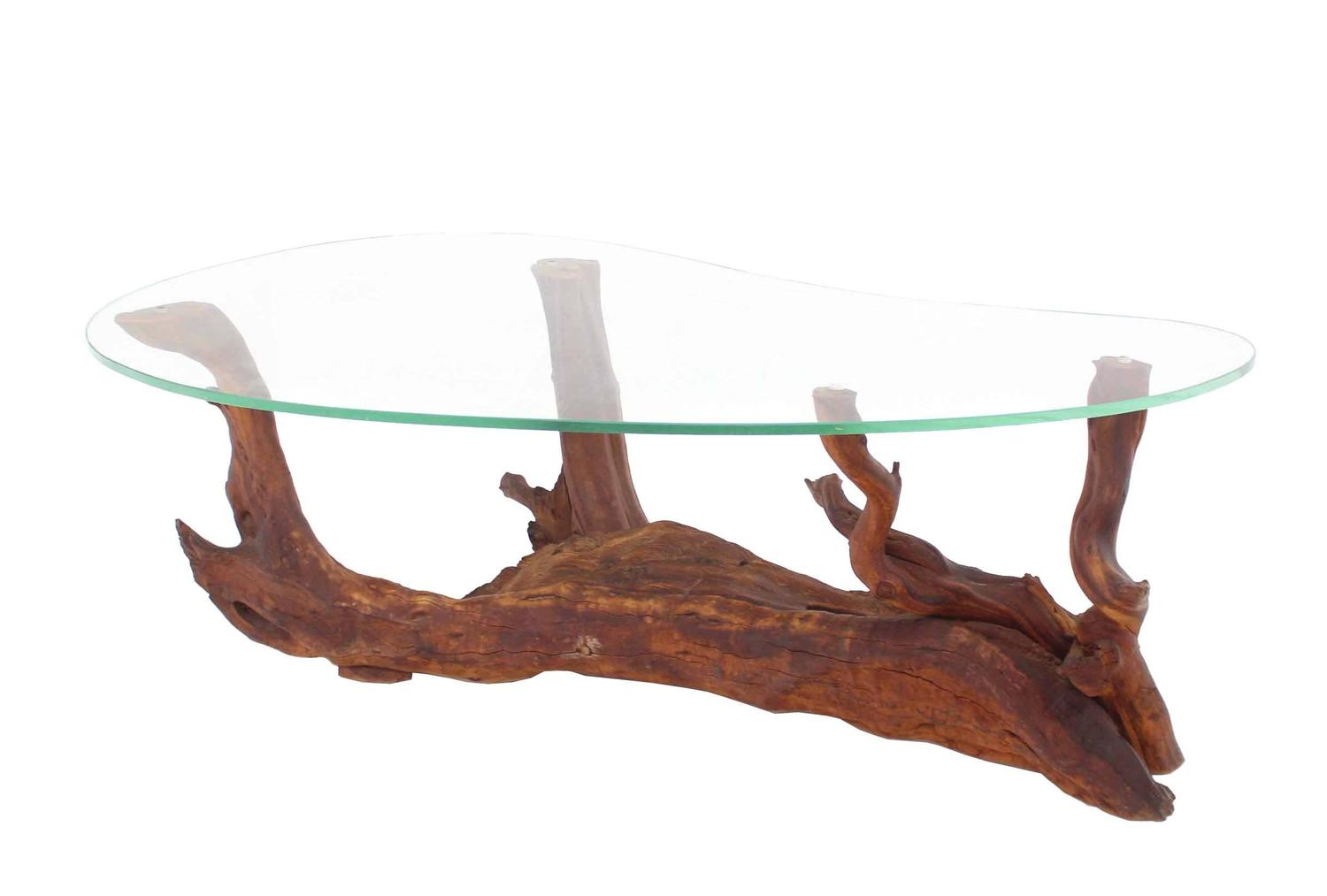 Very Impressive portraiture of  Kidney Shape Glass Top Drift Wood Base Coffee Table at 1stdibs with #915D3A color and 1500x1013 pixels