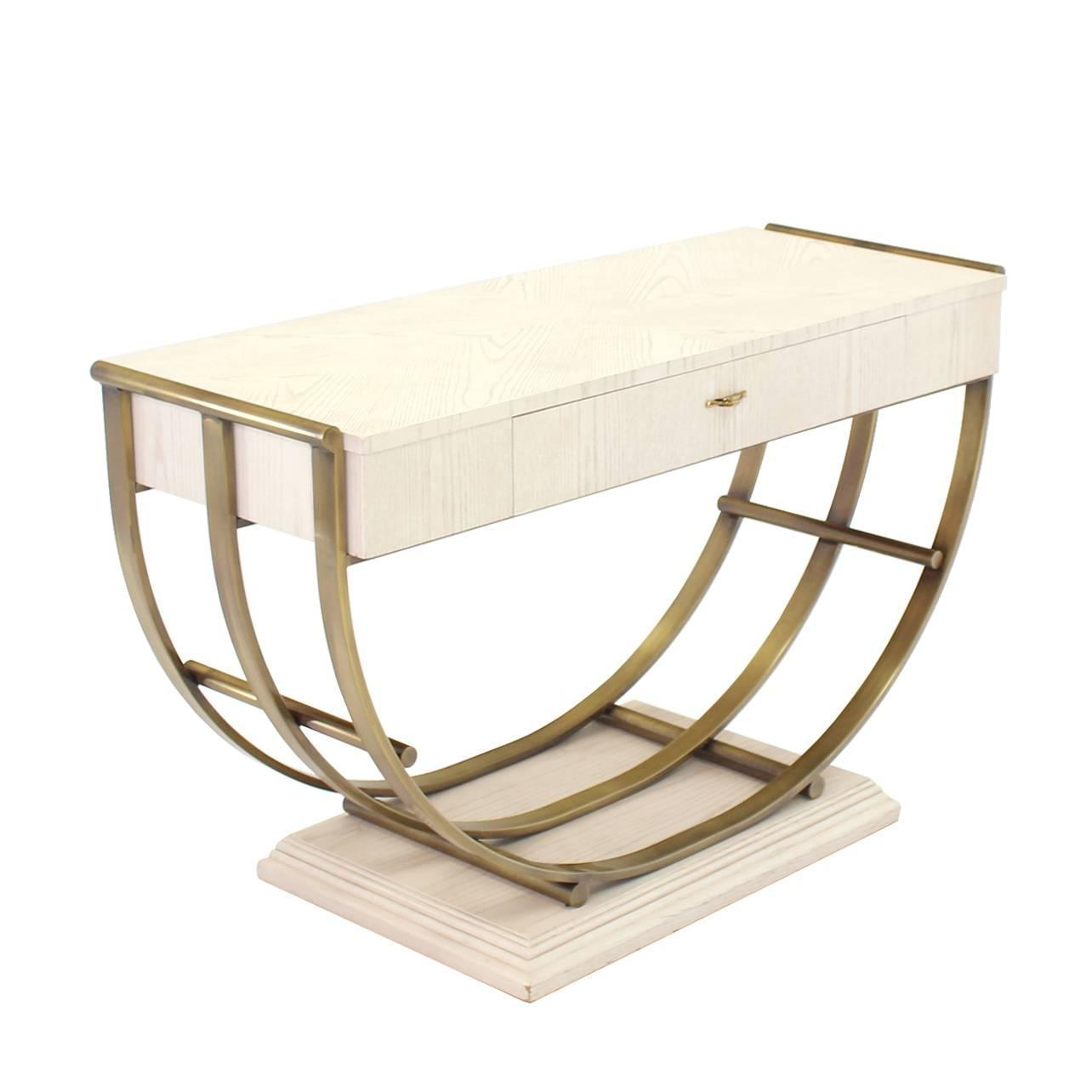 White pickled oak finish brass u shape base console table for Side table base