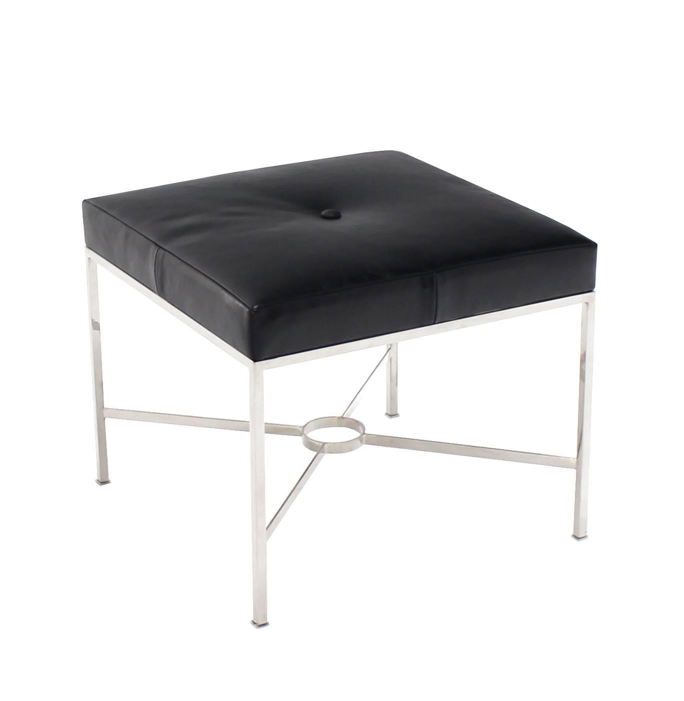 X Base Chrome And Leather Upholstery Square Bench For Sale At 1stdibs