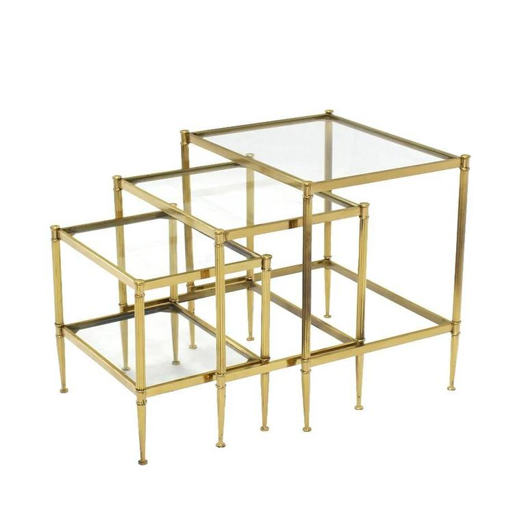 Set of Three Mid-Century Modern Brass Nesting End Tables