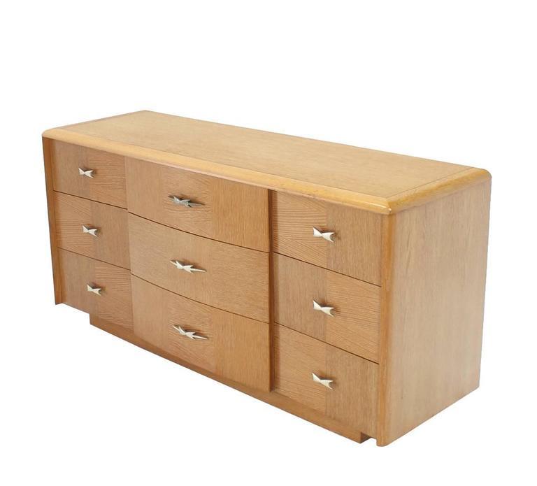 Cerused Oak Mid Century Modern Long Dresser For