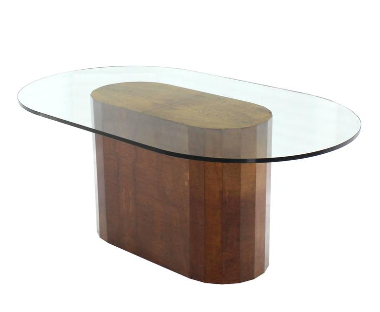 Large burl wood base thick glass top oval dining table at for Large glass table top