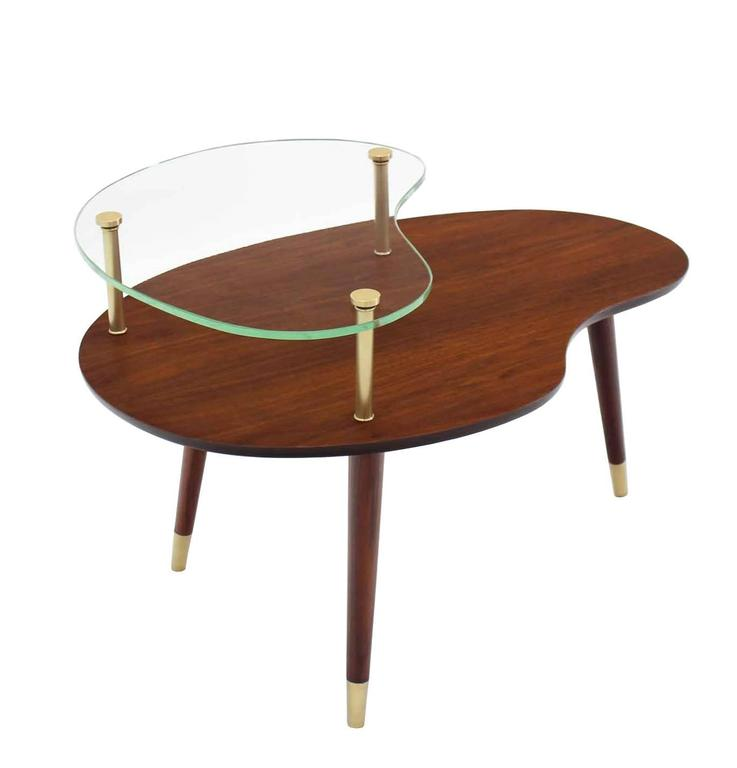 Walnut Glass and Brass Organic Shape Side Table