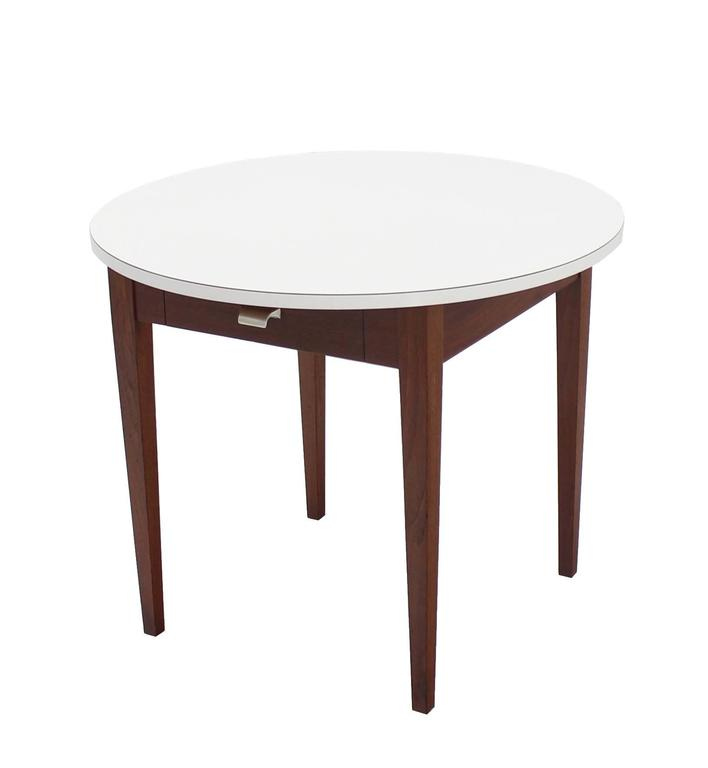 Mid-Century Modern, one-drawer walnut base side occasional table.
