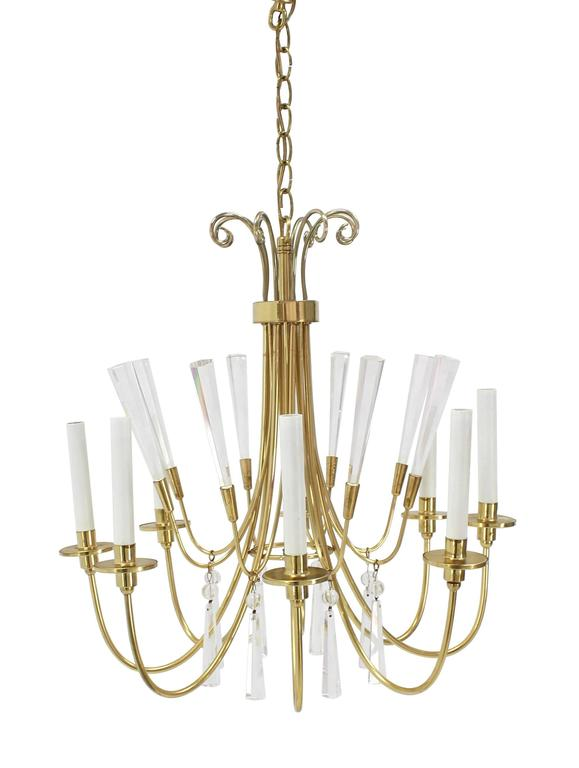 Very nice Mid-Century Modern Lucite and brass light fixture.