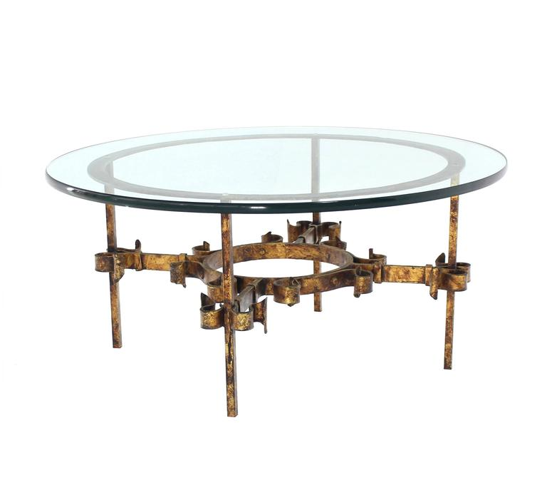 Glass Top Coffee Table With Iron Base: Gilded Wrought Iron Base Round Coffee Table For Sale At