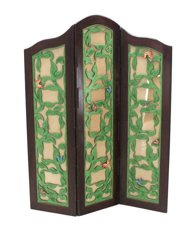 Decorative Carved and Upholstered Screen Room Divider For Sale at