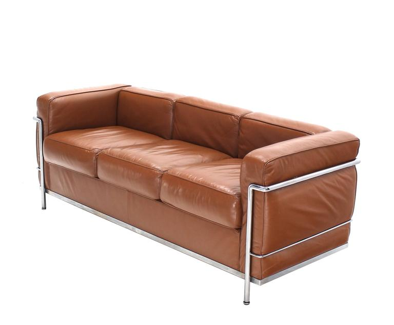 Le corbusier lc2 cassina brown leather three seat sofa at 1stdibs Le corbusier lc2 sofa