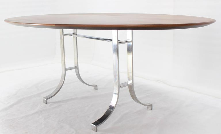 Mid-Century Modern American Oval Walnut Top Stainless Steel Base Dining Conference Table For Sale