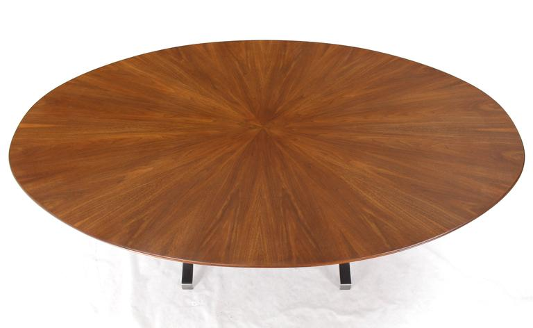 20th Century American Oval Walnut Top Stainless Steel Base Dining Conference Table For Sale