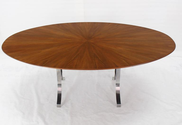 Lacquered American Oval Walnut Top Stainless Steel Base Dining Conference Table For Sale