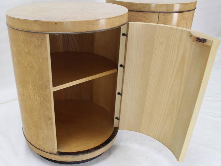 Pair Of Cylinder Drum Shape End Tables Nightstands Burl