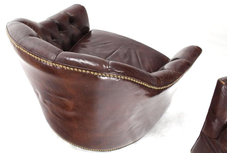 Mid Century Modern Pair Of Brown Shiny Leather Swivel Chairs Tufted  Chesterfield Backs Nice Wear