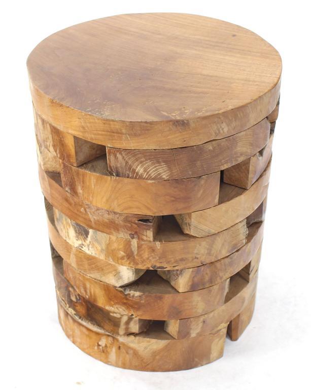Stacked Teak Wood Block Round Pedestal Stool Bench At 1stdibs