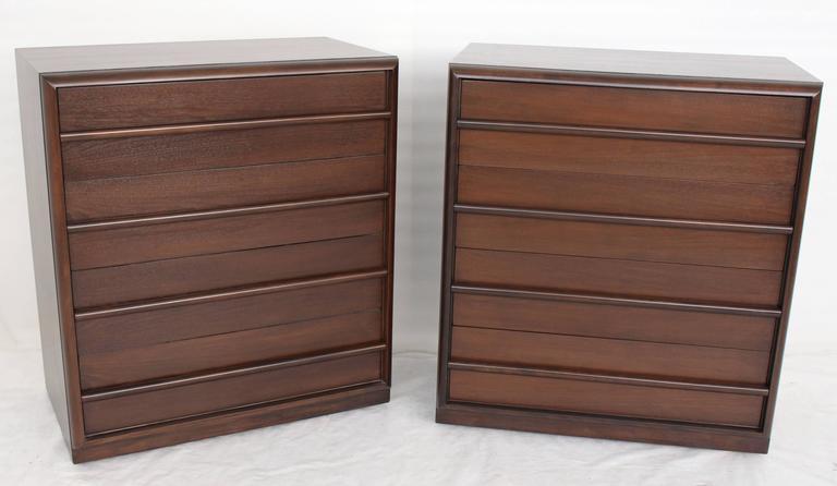 Pair of Mid-Century Modern walnut bachelor chests by Robsjohn-Gibbings for Widdicomb.