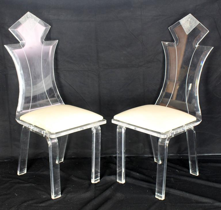 Set of Four Carved Bent Lucite Dining Chairs 5