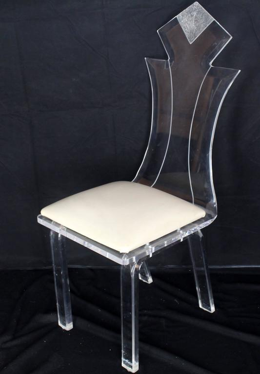 Set of Four Carved Bent Lucite Dining Chairs 3