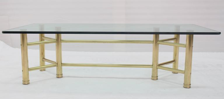 Mid-Century Modern Solid Brass Tube Glass Top Rectangular Coffee Table For Sale