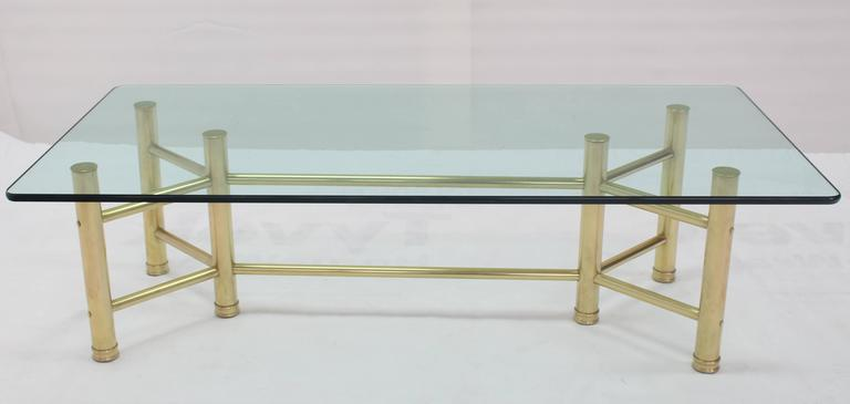 Solid Brass Tube Glass Top Rectangular Coffee Table In Excellent Condition For Sale In Blairstown, NJ