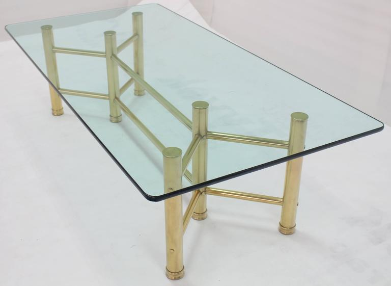 20th Century Solid Brass Tube Glass Top Rectangular Coffee Table For Sale