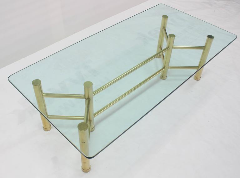 Solid Brass Tube Glass Top Rectangular Coffee Table For Sale 1