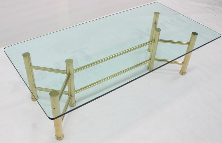 Solid Brass Tube Glass Top Rectangular Coffee Table For Sale 2