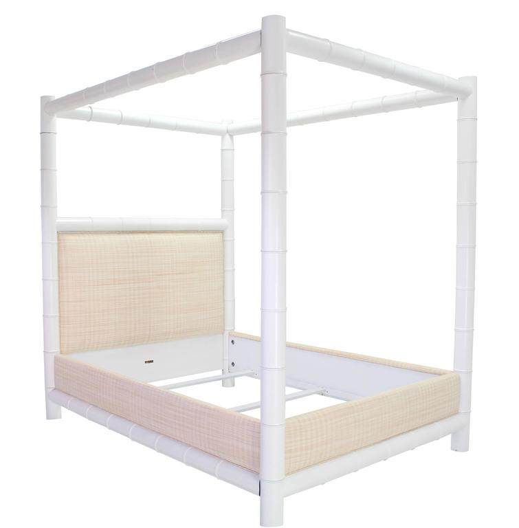 Very nice new upholstery white lacquer faux bamboo poster canopy bed.