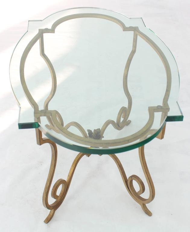Mid-Century Modern Forged Gold Gilt Iron Base Figural Glass Oval Side Occasional Table For Sale