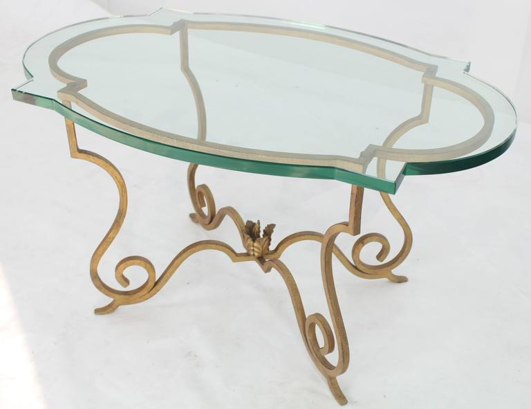 Forged Gold Gilt Iron Base Figural Glass Oval Side Occasional Table In Excellent Condition For Sale In Blairstown, NJ