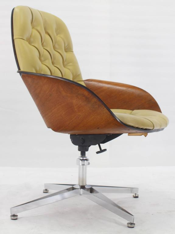 Mustard Green Upholstery Bent Plywood Plycraft Office